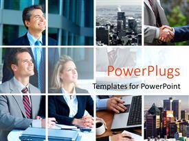 PowerPlugs: PowerPoint template with collage of business professionalsskyscrapers and business handshake