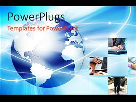 PowerPlugs: PowerPoint template with glowing earth globe with collage of business related depictions