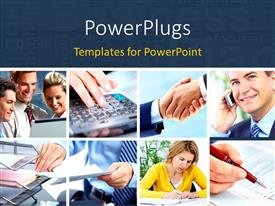 PowerPlugs: PowerPoint template with collage of business scenarios with dark blue text area at top