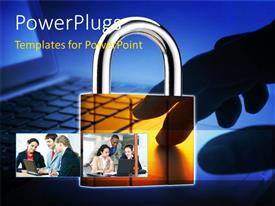 PowerPlugs: PowerPoint template with collage of business team operating laptop with yellow padlock
