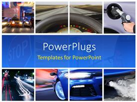 PowerPoint template displaying collage of car interior details and transport attributes