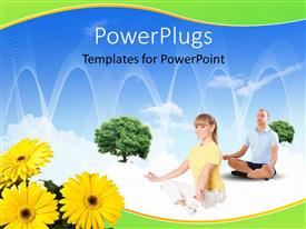 PowerPlugs: PowerPoint template with collage with children and parents with flowers in foreground and blue sky