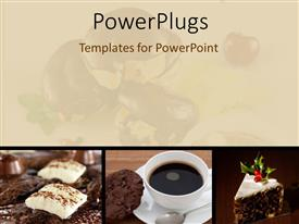 PowerPoint template displaying collage of chocolate and coffee in white cup with blurred apple