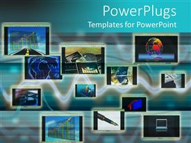 PowerPoint template displaying collage of computer monitors depicting various international business related themes