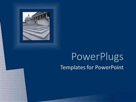 PowerPoint template displaying collage of concrete steps to gigantic Justice building on blue background