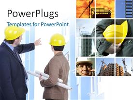PowerPlugs: PowerPoint template with collage of construction engineers with skyscrapers in background