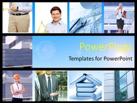 PowerPlugs: PowerPoint template with collage of construction professionals posing with architectural designs