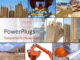 PowerPlugs: PowerPoint template with collage of construction related scenes, including hard hat with blueprints, equipment, and buildings