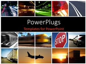 PowerPoint template displaying a collage depicting different modes of transport