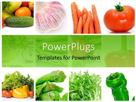 PowerPoint template displaying collage of depictions of different vegetables