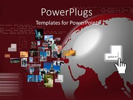 PowerPoint template displaying collage of different business tiles on a wine colored background
