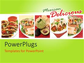 PowerPlugs: PowerPoint template with collage with different depictions of various Mexican food dishes like burritos tacos nachos guacamole and fajitas