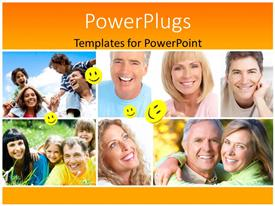 PowerPlugs: PowerPoint template with collage of different families having fun with yellow smiley faces