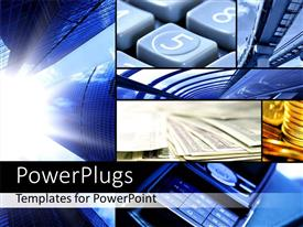 PowerPlugs: PowerPoint template with collage of digital depictions with keyboard and skyscrapers