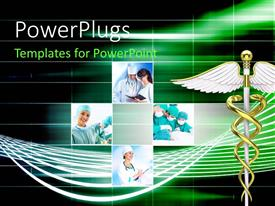 PowerPlugs: PowerPoint template with collage with doctors discussing issues or operating patient with medical symbol in foreground