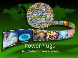 PowerPlugs: PowerPoint template with collage of earth made from film strips with various different pictures