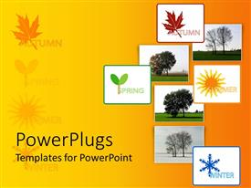PowerPlugs: PowerPoint template with collage with eight depiction of four seasons, autumn spring summer winter with trees on gradient yellow background
