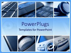 PowerPlugs: PowerPoint template with collage of eight depictions of digital technology, laptop computer keyboard, headphones, mobile phone keys