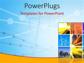 PowerPlugs: PowerPoint template with electricity generation and transmission with collage of wind turbines
