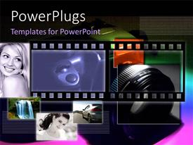 PowerPlugs: PowerPoint template with collage of fashion photos and film reel with camera