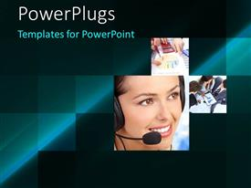 PowerPoint template displaying collage of female customer support agent with headphone and microphone