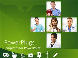 PowerPoint template displaying collage of female doctors with stethoscopes in green background