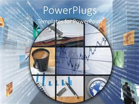 PowerPlugs: PowerPoint template with collage of financial chart earth globe and cup of coffee