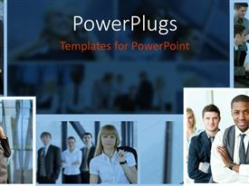 PowerPlugs: PowerPoint template with collage of five depictions of business people in various moments speaking on phone, smiling at the camera, talking to each other