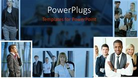 PowerPoint template displaying collage of five depictions of business people in various moments speaking on phone, smiling at the camera, talking to each other