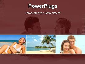 PowerPoint template displaying collage of four beach scenes with palm trees and happy people