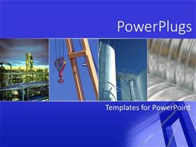 PowerPlugs: PowerPoint template with collage with four depictions of various industries, industrial business, factory, chemical plant