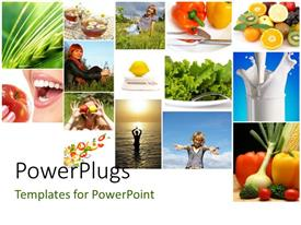 PowerPlugs: PowerPoint template with collage of fresh fruits, vegetables, milk depicting heathy and fit lifestyle