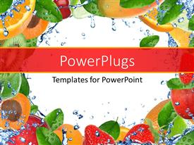PowerPlugs: PowerPoint template with collage of fresh healthy fruits and vegetables with splashing water