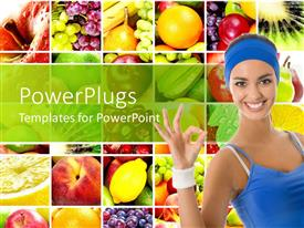 PowerPlugs: PowerPoint template with collage of fruits behind smiling woman in blue vest and headgear