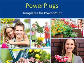 PowerPlugs: PowerPoint template with collage of garden workers with people carrying flowers and watering can