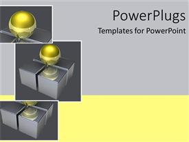 PowerPlugs: PowerPoint template with collage of glowing golden sphere on four boxes