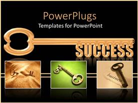 Audience pleasing PPT with collage of gold keys with gold success skeleton key on black background