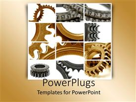PowerPoint template displaying collage of golden and silver gears on white and grey background