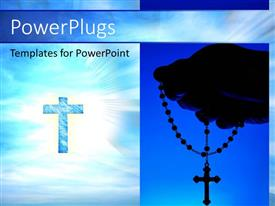 PowerPlugs: PowerPoint template with collage of hand holding rosary and cross against bright light in sky