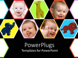PowerPlugs: PowerPoint template with collage with happy newborn baby smiling faces and toys