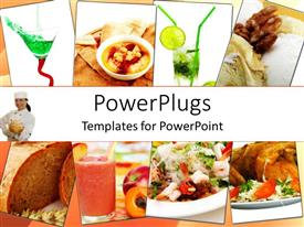 PowerPoint template displaying collage of healthy assorted Indian dishes with female chef