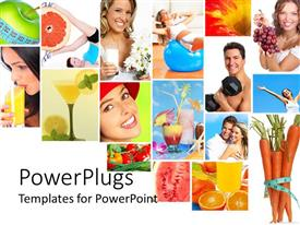 PowerPlugs: PowerPoint template with collage of healthy lifestyle with healthy nutrition diet and fitness fruits vegetables fresh juice measuring tape