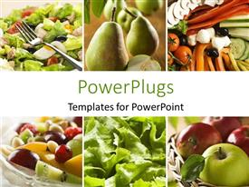 PowerPlugs: PowerPoint template with collage of a healthy vegetables and fruit food