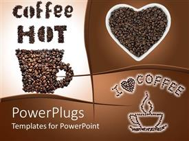 PowerPlugs: PowerPoint template with collage of hot coffee depictions of coffee cup made of coffee beans, coffee beans in heart shaped cup and coffee cup and I love coffee with heart made of coffee beans