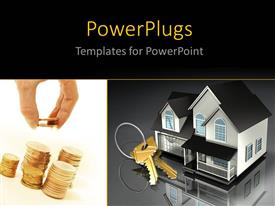 PowerPlugs: PowerPoint template with collage of House with a set of brass keys on a key ring sitting in front of it wih black colort
