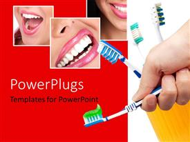PowerPlugs: PowerPoint template with collage of human dentition with hand holding toothbrush with toothpaste