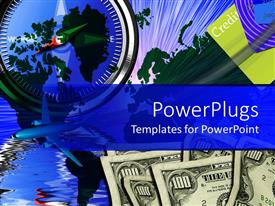 PowerPoint template displaying collage of hundred dollar bills, credit cards, jet plane, compass, world map, and water