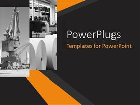 PowerPoint template displaying collage of industrial concept with nice orange stripes in the background