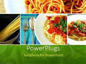 PowerPlugs: PowerPoint template with collage of Italian spaghetti food series