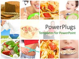 PowerPlugs: PowerPoint template with collage of lady with healthy eating habits and diet